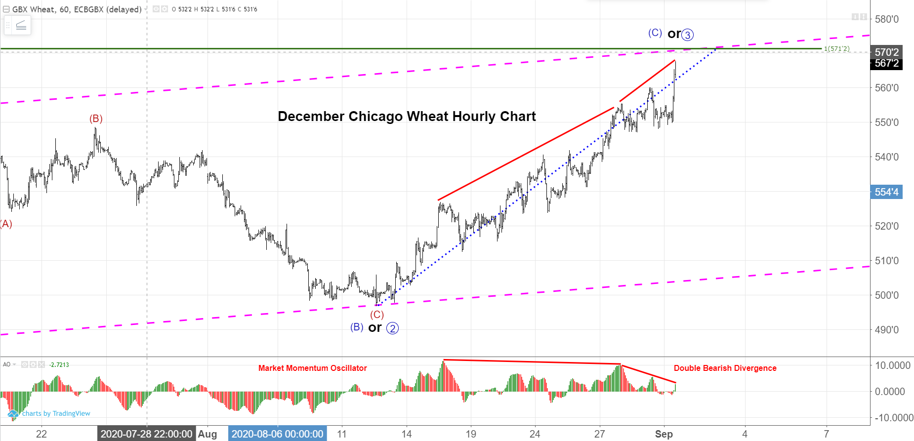 December Wheat Hourly Futures